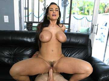 Hot brunette MILF Lisa Ann rides a terrific pecker