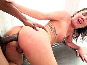 Amara Romani takes the big black cock inside her ass hole doggy style and really likes it