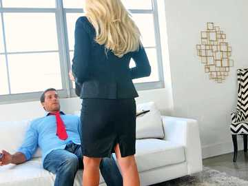 Flirtation big-boobied hoe Olivia Fox has titty-fuck during working hours