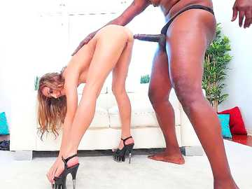 Luscious long-haired brunette in high heels Moka Mora gets drilled by the black monster cock