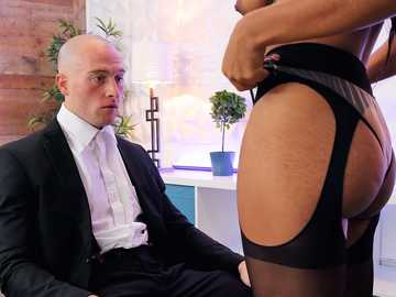 Sultry black chick Jenna Foxx blows her white boss to get the promotion